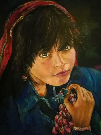 Portrait Local Girl Traditional Art Folkart Mysterious Girl Eyes Tradition Edessa Greece Balcan Melancholic Eyes Hotel Lobby Colors Local Artist Painting Beautiful Beauty Mystery Uniqueness Innocence Girl Real People HuaweiP9 CheapCamera Second Acts Be. Ready.