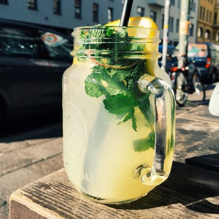 Lemonade Mint Lemon Drinks Nonalcoholic Jar Heat Cold Drink
