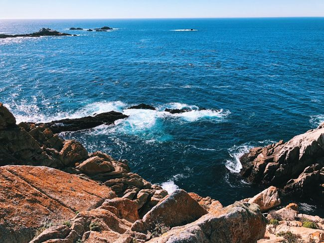 Sea Water Nature Horizon Over Water Beach Rock - Object California Dreamin Beauty In Nature Outdoors Day Scenics High Angle View No People Sunlight Tranquility Wave Pebble Beach Sky The Great Outdoors - 2018 EyeEm Awards