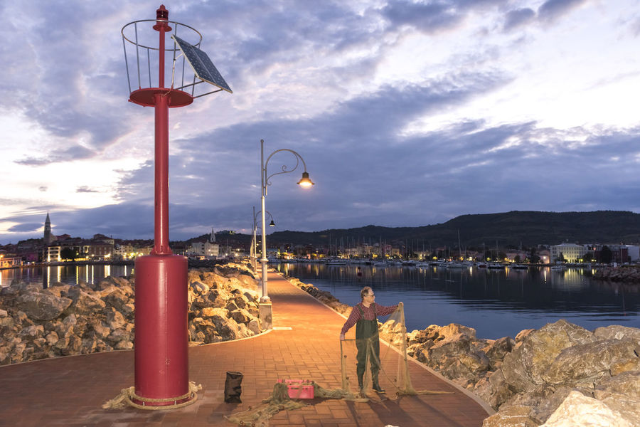 Fisherman Cloud - Sky Day Fishing Net, Dragnet, Drift Net, Trawl, Meshwork, Webbing, Tulle, Fishnet, Openwork, Lace, Latticework. Snare, Catch Fishing, Angling, Trawling, Trolling, Seining, Ice Fishing, Catching Fish Harbour Lighthouse No People Outdoors Pier Sky Sunrise