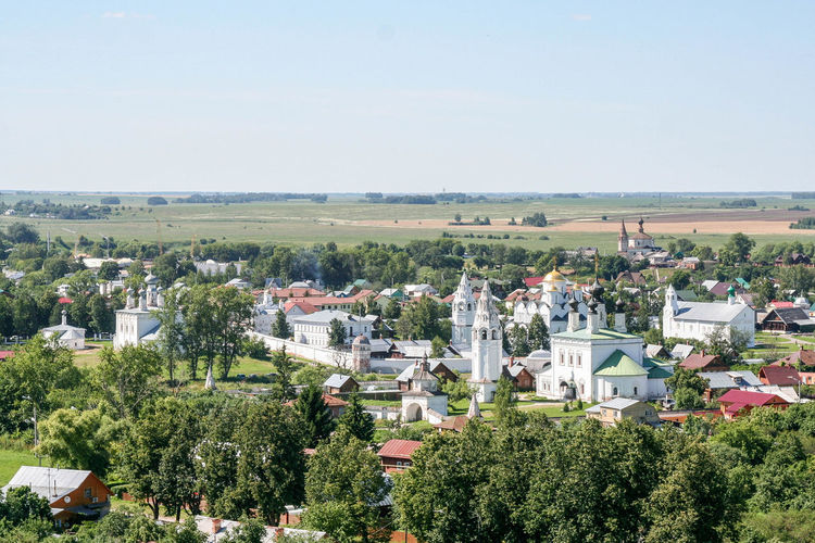 View of the Intercession Monastery from the bell tower High Angle View Russia. Suzdal Architecture Cityscape Day Golden Ring Landmark Monastery Orthodox Outdoors Panorama Relaxing Russia Summer Suzdal Ussia View Golden Ring Of Russia Neighborhood Map