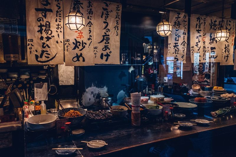 Japanese restaurant Restaurant Interior Design Restaurant Decor Restaurant Decor Interior Interior Design Shimokitazawa Food And Drink Food Light And Shadow Tokyo Street Photography Tokyo Japan Photography Japan Restaurant Container Indoors  Night Food And Drink Drink Art And Craft Small Business Table Store