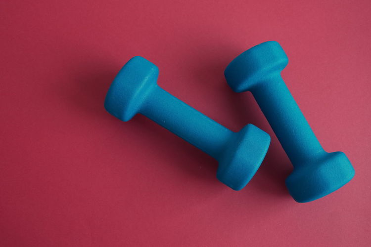 Studio Shot Blue Colored Background Indoors  No People Close-up Still Life Strength High Angle View Weight Healthy Lifestyle Red Dumbbell Care Directly Above Red Background
