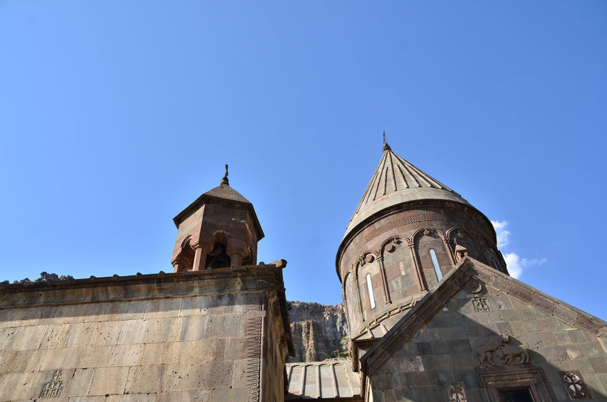 Armenia Geghard Geghard Monastery Spirituality Architecture Blue Building Exterior Built Structure Clear Sky Clock Tower Day History Low Angle View No People Oriental Orthodox Church Outdoors Place Of Worship Religion Sky Spirituality Travel Destinations W-armenien