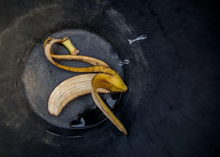 High Angle View Of Banana Peel On Street