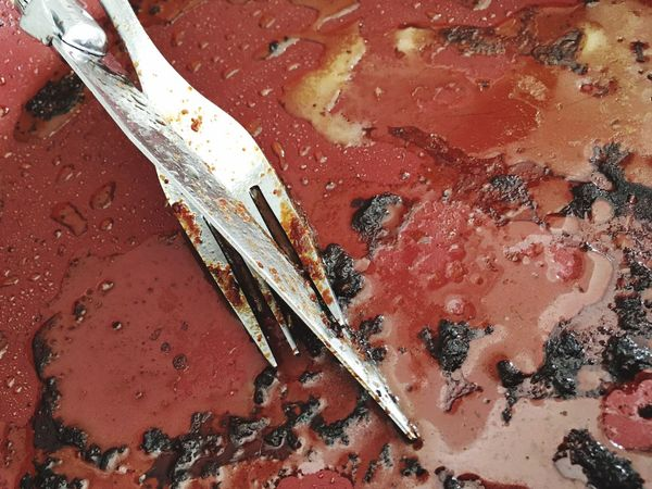 Messthetics Leftovers Red Close-up Food No People Day Outdoors Fork Knife Plate Pan Cooking Fats Meat Leftovers Dirty Dishes Dirty Dishes Food And Drink Housework Conceptual Photography  Conceptual Messthetics Art Is Everywhere Break The Mold Visual Feast