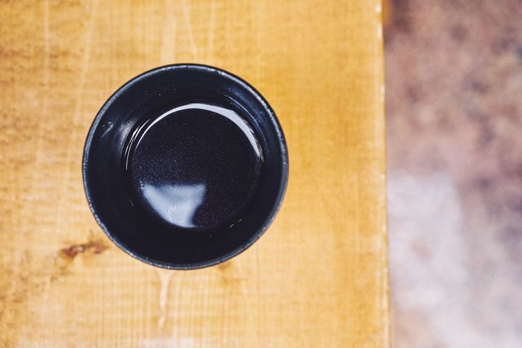 Directly above shot of black tea on table