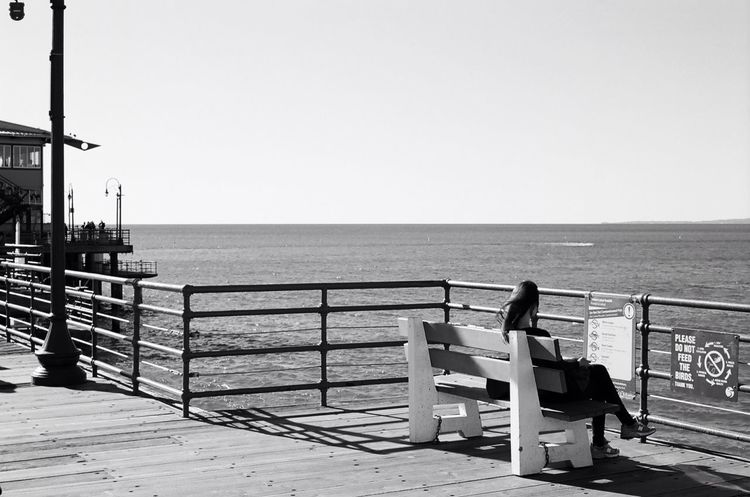 I can hear the wind Film Photography Kodakektar100 Nikon F3 35mm Film Analogue Photography Santa Monica Pier Blackandwhite Streetphotography Black And White Windy