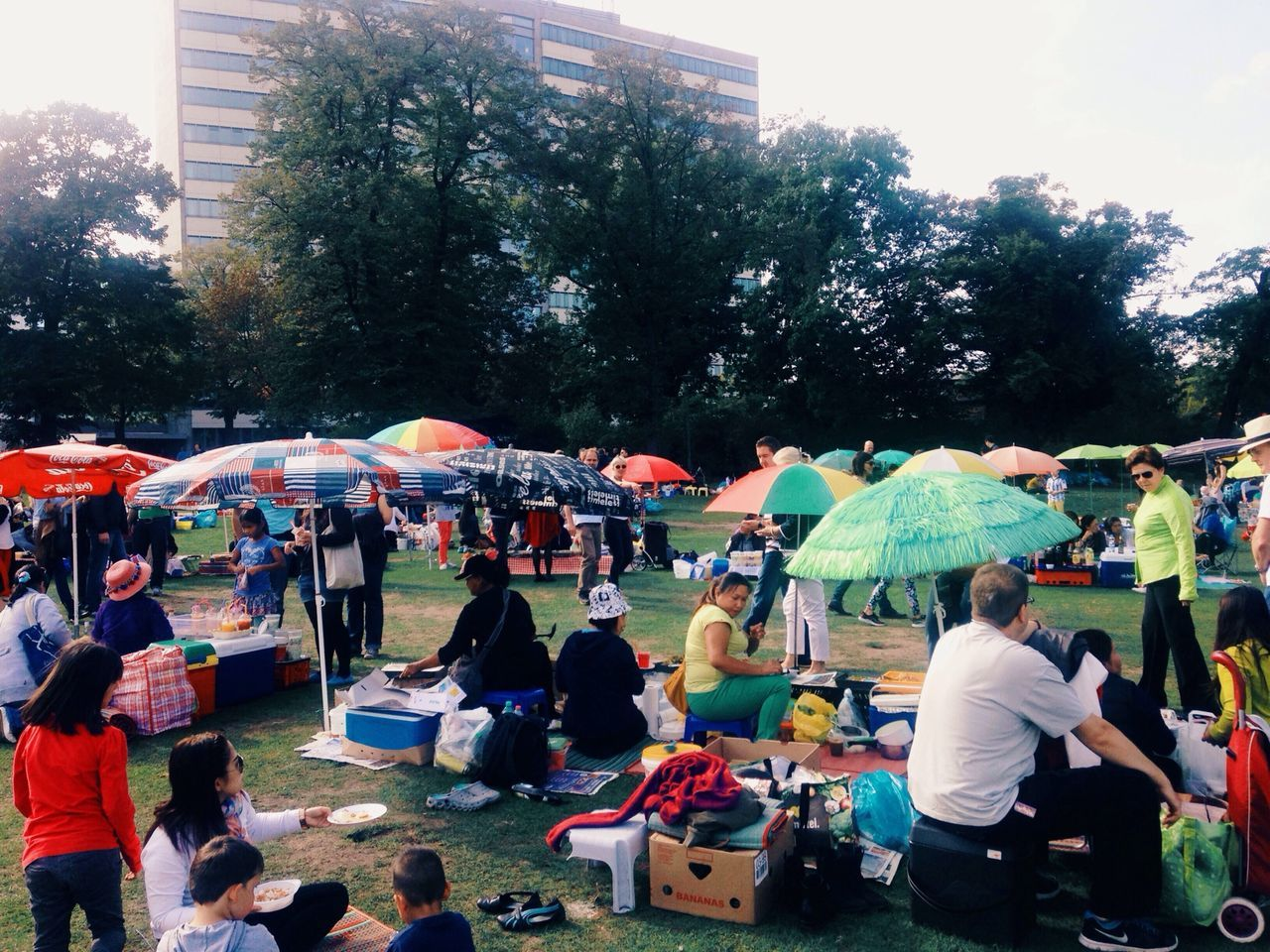 People at picnic in park
