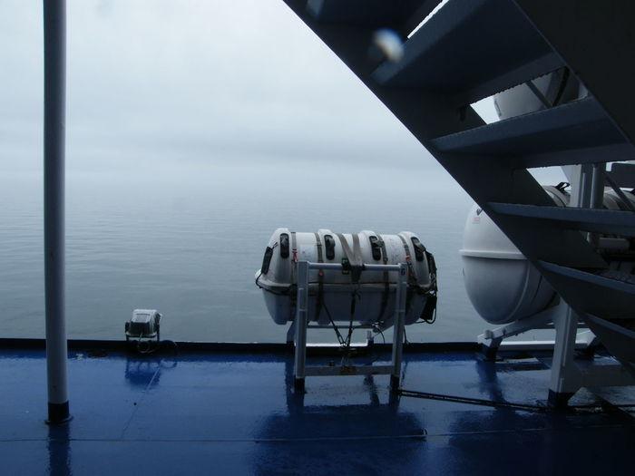 Day Horizon Over Water Irish Sea Life Raft No People Outdoors Safety Equipment Sea Voyage Ship Ship At Sea Ship's Deck Sky