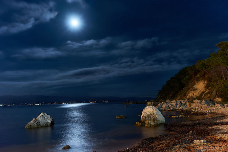 Beach Beauty In Nature Cloud - Sky Full Moon Horizon Over Water Land Moon Moonlight Nature Night No People Outdoors Rock Rock - Object Scenics - Nature Sea Sky Solid Tranquil Scene Tranquility Water My Best Travel Photo