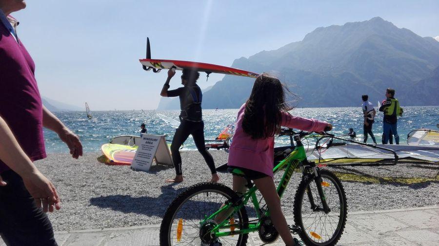 Girl Power Babygirl Hello World Bike Sports Sport Pink Color Lake Torbole Lake Italy Energy Colors Surfing Surfing Life Bikes Bike Ride Bike Week No Filters Or Effects Bike Life Road Bike