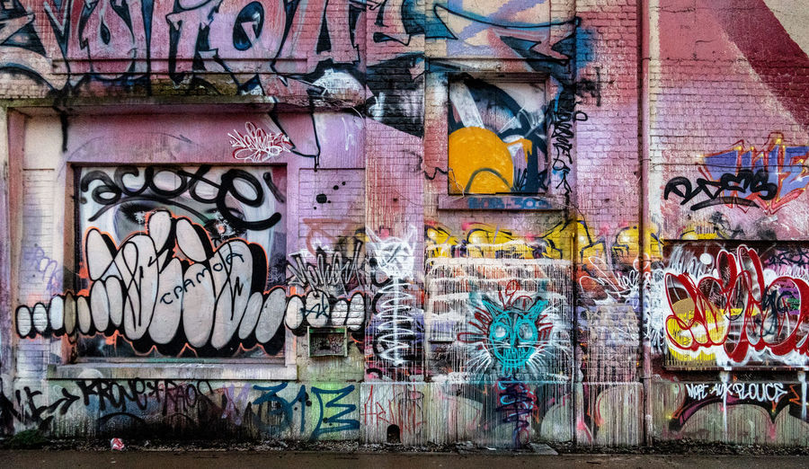 Graffiti Art And Craft Creativity Wall - Building Feature Street Art Multi Colored Representation Architecture No People Day Built Structure Wall Human Representation Paint Text Building Exterior Messy Outdoors Rudeness Mural