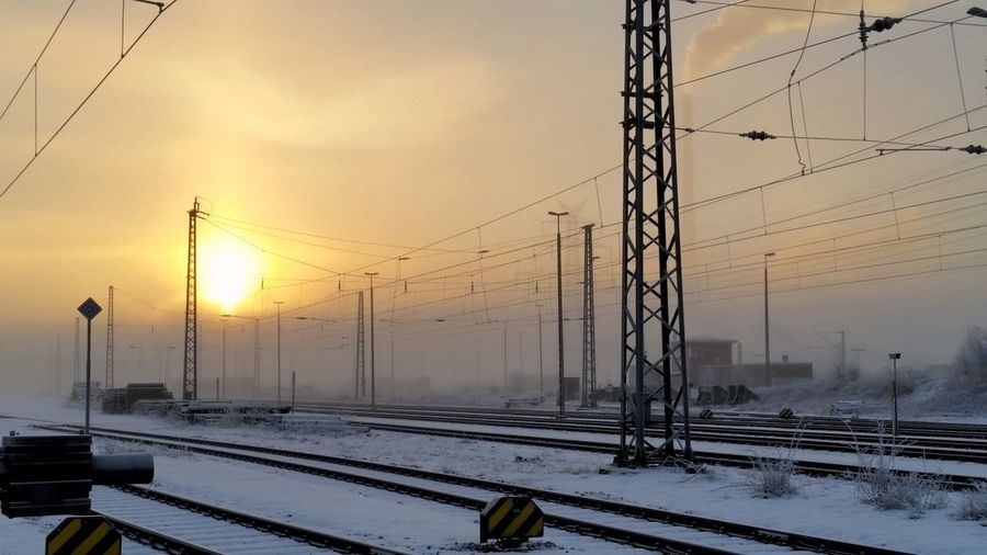 The City Light Cold Temperature Winter Sunset No People Cloud - Sky Outdoors Sunrise Industrial Landscapes