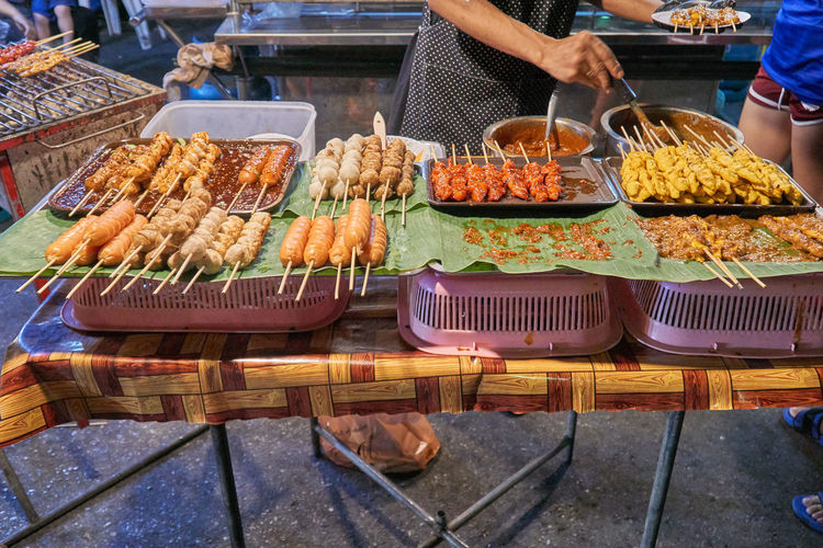 High angle view of food in market stall