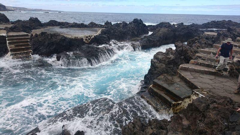 Sea Water Motion Splashing Wave Day Nature Outdoors Sky Tenerife Island Tenerife España GarachicoTenerife Garachico Spain♥ Beauty In Nature Scenics Nature