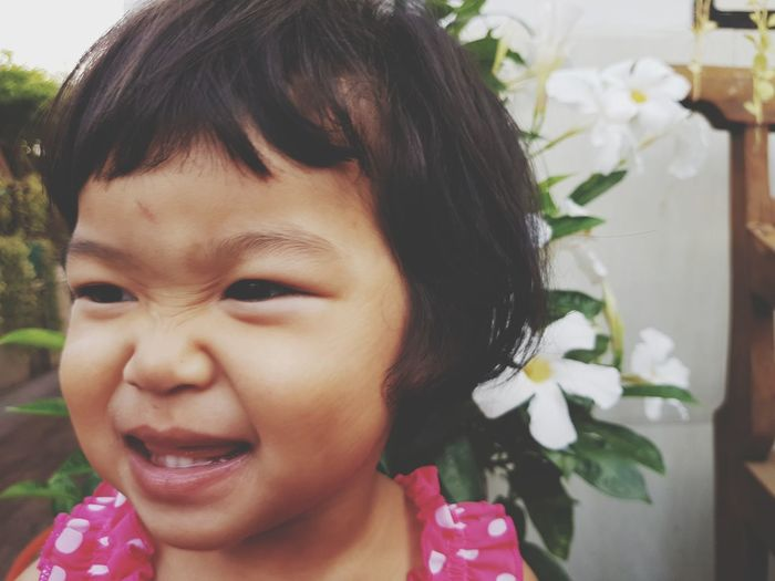 Flower Smiling Protruding Childhood Portrait Happiness Child Headshot Cheerful Front View
