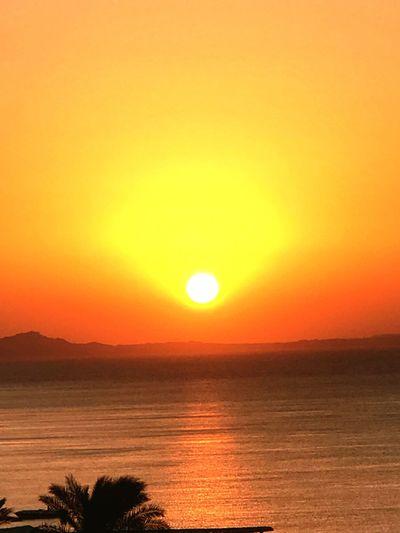 Sunset Sky Beauty In Nature Scenics - Nature Water Tranquility Sun Orange Color Idyllic Nature No People Sunlight Horizon Over Water Horizon Sea