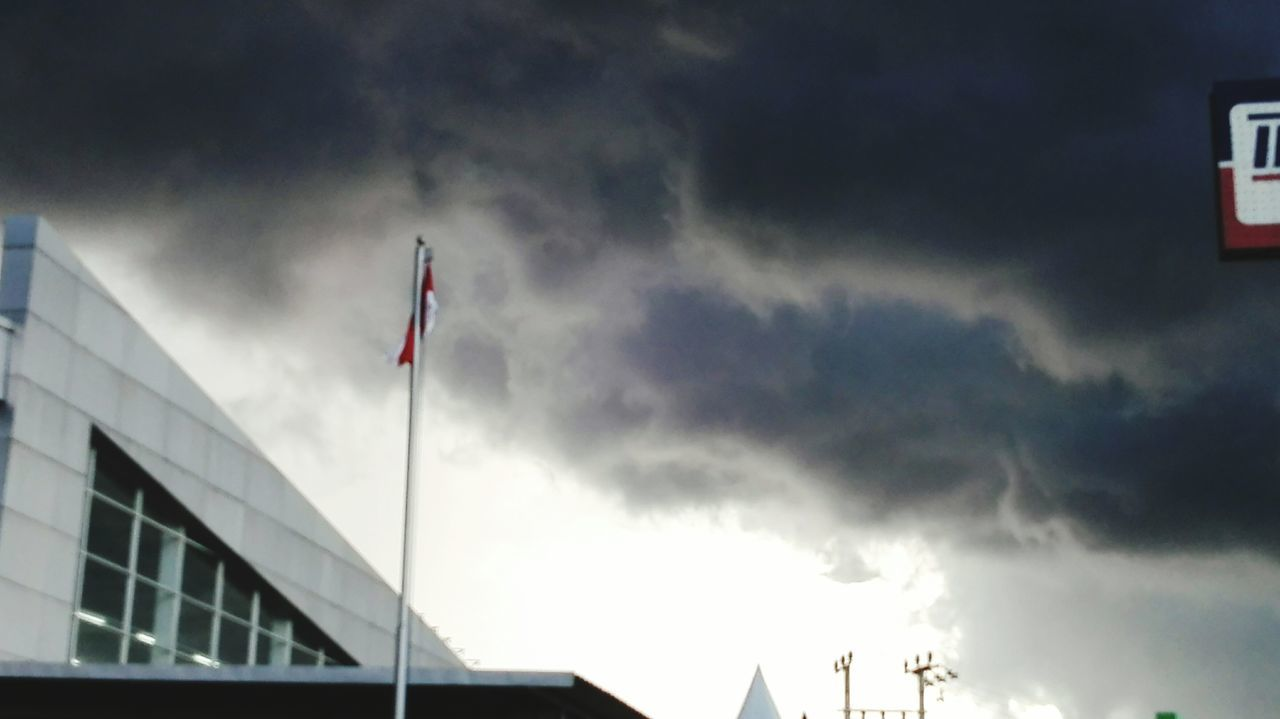 flag, patriotism, cloud - sky, low angle view, no people, day, sky, outdoors