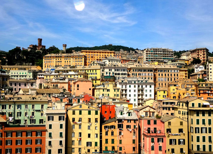 View over the city of Genoa, Italy Italy Italia City Cityscape Sunny Colorful Colors Colorful Buildings Exterior Streetphotography Street Overhead View Drone  Urban Skyline City Cityscape Sky Architecture Building Exterior TOWNSCAPE Rooftop Town Urban Skyline Place Location Townhouse