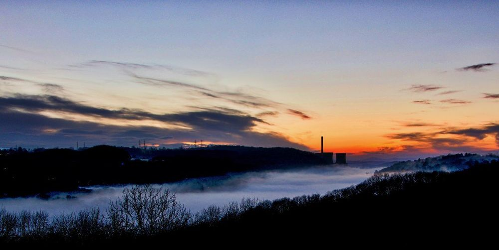 gorge mist Ironbridge  Sunset Silhouettes Sunset_collection Beauty In Nature Cloud - Sky Day Mist, Background, Smooth, Environment, Backdrop, Scene, Nature No People Orange Color Outdoors Power Station Scenics Shropshire Countryside Shropshire Landscape Silhouette Sky Sunset Tranquil Scene Tranquility Tree Water