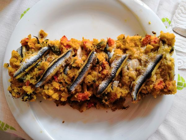 Fish Fish Pie Sardines Plate High Angle View Close-up Food And Drink Served Curry Serving Size Savory Pie Food Styling