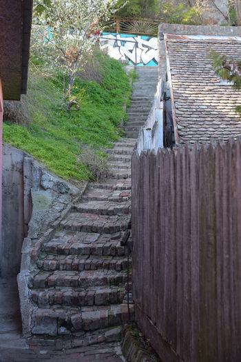 Footpath by railing against wall