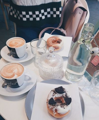 Pink Social Donuts Donut EyeEm Selects Drink Drinking Glass Plate Table Coffee - Drink High Angle View Dessert Party - Social Event Coffee Cup Cappuccino Beverage Coffee Latte Sprinkles Cafe Macchiato