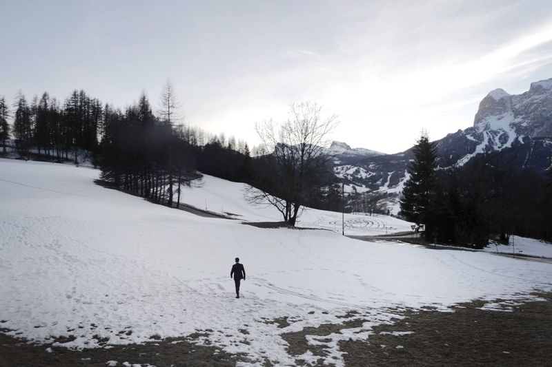 Italy Winter Snow Cold Temperature Nature Real People Weather Tree Scenics Beauty In Nature One Person Outdoors Sky Landscape Leisure Activity Day Italy❤️ Winter Wonderland Winter TCPM Shades Of Winter