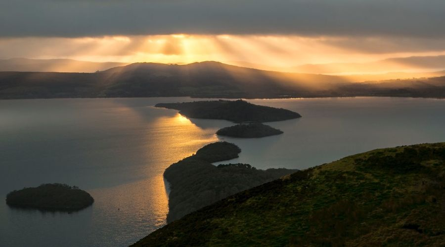 Nature Sky Tranquil Scene Scotland Conic Hill View Loch  Outdoors Golden Hour Islands Lochs Hillwalking Hiking Sunset Water No People Tranquility Mountain Outdoors Photograpghy  Fresh Air... Nature Get Outside Outdoors❤ Stirlingshire Gillian McBain Photographer Cloud - Sky