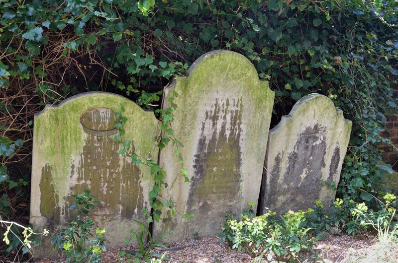 Group of three Tombstones Hampstead cemetery Tombstone Grave Cemetery Memorial Death Old Creepy Horror Group Of People Three Religion Burial