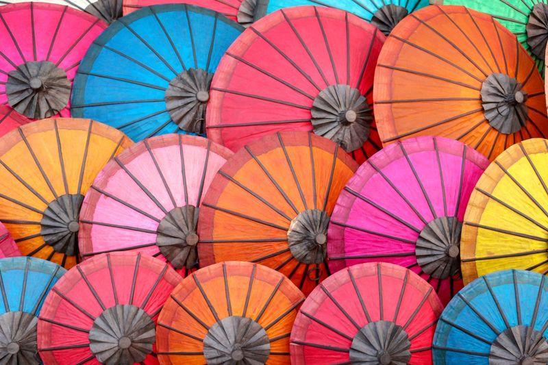 Full frame shot of multi colored umbrellas for sale in market