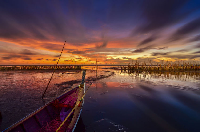 Thailand Beauty In Nature Cloud - Sky Day Nature Nautical Vessel No People Outdoors Reflection Sae Scenics Sea Sky Sunset Tranquil Scene Tranquility Transportation Water ทะเล ทะเลแสนงาม นครศรีธรรมราช บ้านในถุ้ง