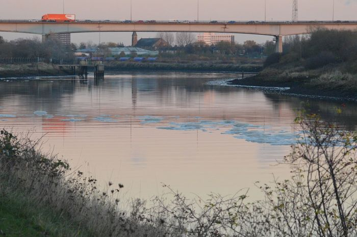 Evening traffic on A19 River Tees, Middlesbrough