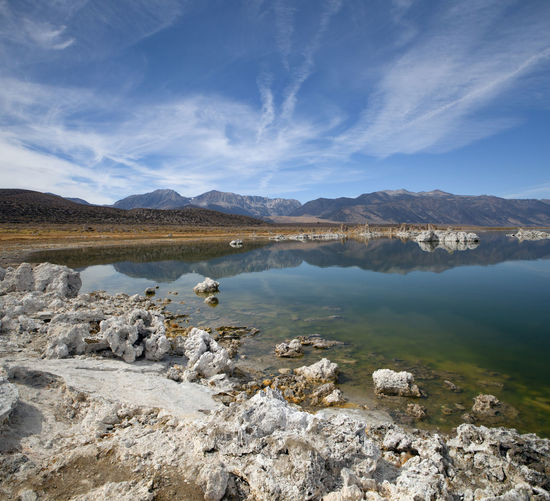 Mono Lake South Tufa. Water Scenics - Nature Beauty In Nature Tranquil Scene Mountain Sky Tranquility Solid Nature Cloud - Sky Rock No People Environment Day Lake Rock - Object Non-urban Scene Landscape Land Outdoors Salt Flat Mono Lake Silence Meditation