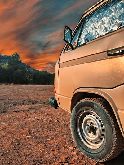 Great vw t3 in a beatiful nature Nature Car Sunset Land Road No People Rural Scene Landscape Outdoors Field Close-up Day Stationary Agriculture