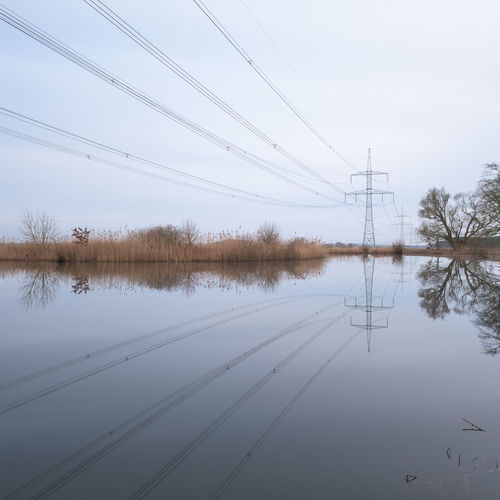 Brandenburg Cable Day Electricity Pylon Energie Energieversorgung Energiewende Nature No People Outdoors Reflection Sky Strommast Stromtrasse Stromversorgung Water