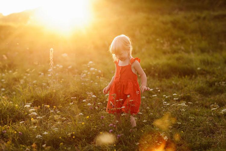 Full length of child on field during sunset