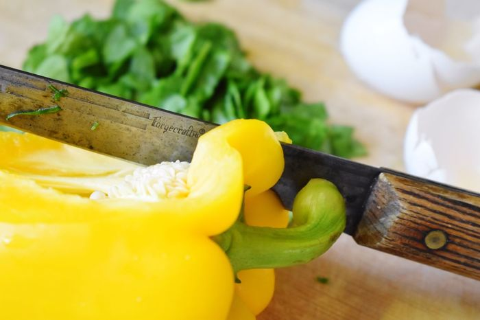 Cutting Board Knife Food And Drink Food Freshness Healthy Eating Fruit SLICE Yellow Table No People Vegetable High Angle View Close-up Dof Indoors  Ready-to-eat Sweet Food Day Yellow Pepper Egg Shells Foodie Taking Photos