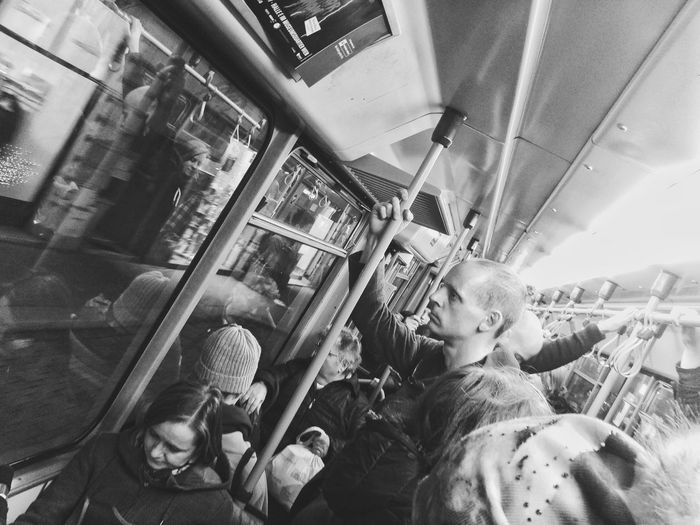 Train - Vehicle Indoors  People Childhood Vehicle Seat Adult Real People Child Day Sky Schwarzweiß Blackandwhite Vienna Vienna Black And White Streetphoto_bw Light And Shadow Bnw Tram Candid Portraits Commute Commuter Train