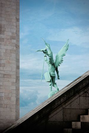 •Arcanjo• Canont3i DiegoParallaxe Paris Montmartre Sacre Coeur Basilica Angel Statue Sculpture Sky Human Representation Low Angle View Art And Craft Cloud - Sky