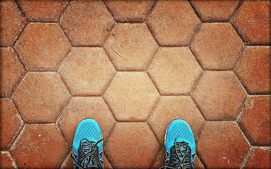Shoes Feetselfie Hexagonal Tiles Hexagons Textures And Surfaces Under Foot Driveway Pavers
