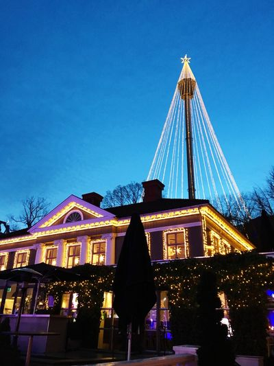 Christmas at Liseberg Built Structure Low Angle View Night Architecture Blue Celebration Illuminated Christmas