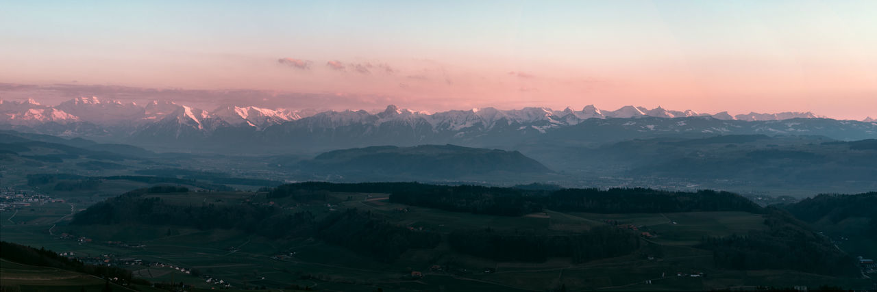 Swiss Alps Bantiger Beauty In Nature Idyllic Landscape Mountain Mountain Range Outdoors Panoramic Scenics - Nature Sky Sunset Tranquil Scene Tranquility