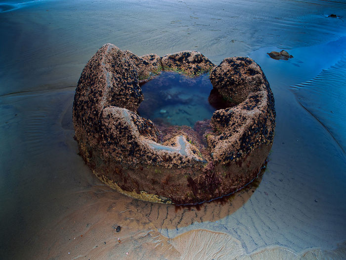 High angle view of heart shape on beach