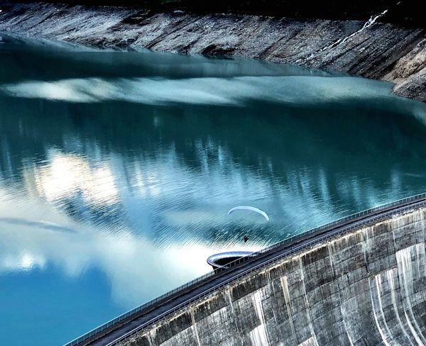 Water Reflections Paragliding Dam Swiss Alps Valais Valdanniviers Grimentz Moiry Water Nature Reflection Outdoors Summer Sports