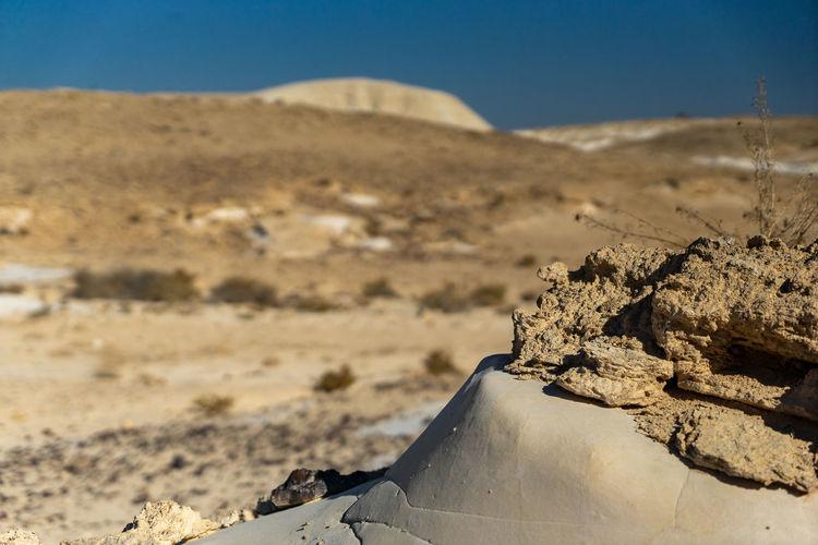 Close-up of sand dune on desert against sky