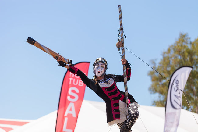 Costa Mesa, CA, USA - July 16, 2016: Dragon Knights steampunk stilt walkers perform at the Orange County Fair in Costa Mesa, CA on July 16, 2016. Editorial use only. Amusement  Amusement Parks Celebrate Dance Day Dragon Knights Fun OC Fair Orange County Fair Outdoors Performer  Steampunk Stilt Walkers