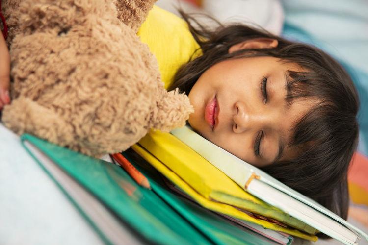 Close-up portrait of boy sleeping