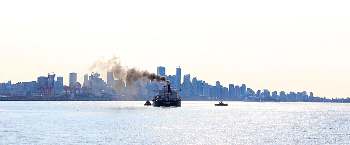 Tugboat Guided Vessel At Sea Nautical Vessel Cargo Ship Waterfront Street Photography Random Clear Sky Vancouver British Columbia Canada
